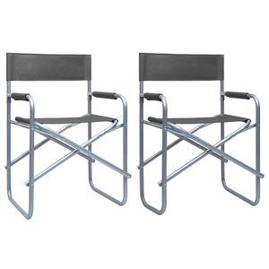 vidaXL Regiestühle 2 Stk. Stahl Grau