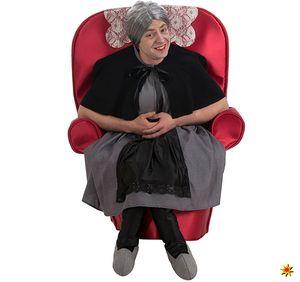 Unisex Kostüm Oma im Sessel Huckepack-Kostüm