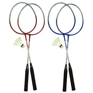 Best Sporting Badminton-Spiel Garnitur 2 Schläger + 1 Badmintonball, blau/silber oder rot/silber, Farbe:blau/silber