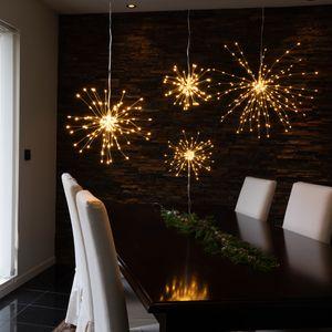3D LED Stern Feuerwerk - hängend - 200 warmweiße LED - D: 45cm - für Innen - silber