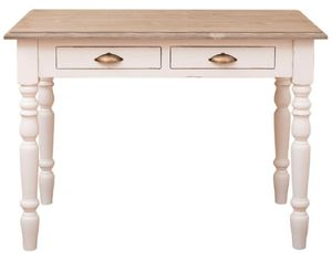Casa Padrino Landhausstil Schreibtisch mit 2 Schubladen Antik Weiß / Naturfarben / Antik Messing 109 x 60 x H. 79 cm - Landhausstil Büromöbel