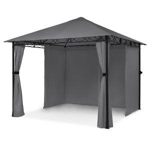 Blumfeldt Mondo Gartenpavillon Partyzelt Gartenzelt Gazebo 2,95 x 2,6 x 2,95 m ,  4 Seitenteile  ,  EasyMount Concept  ,  Witterungsschutz: UV / Wind / Regen  ,  pulverbeschichteter Stahl  , Polyester  ,  dunkelgrau