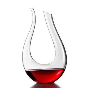 1500ml Bleifrei Kristallglas U-Form Design Glaskaraffe Wein Weinkaraffe Dekanter