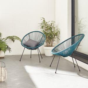 Set mit 2 eierförmigen Sesseln - Acapulco entenblau - 4-beiniger Sessel im Retro-Design, Kunststoffschnur, innen / außen