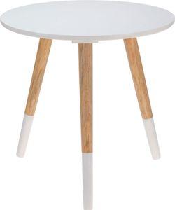 Runder Beistelltisch ⌀40 cm, Höhe 39 cm - SIDE TABLE - weiß/natur