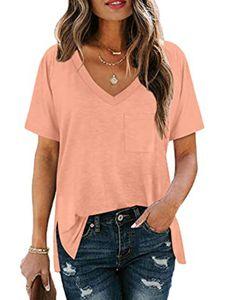 Damen Lässige Einfarbiges V-Ausschnitt kurzärmeliges T-Shirt,Pink,XL