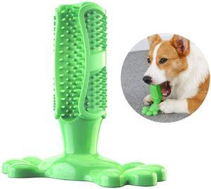 LITZEE Hundezahnbürste Stick Hundespielzeug Kaumassagegerät Effektive Reinigung für Hunde Mittelgroße Welpenkatzen Zahnbürste Bissbeständiger Gummi, grün (M: Fit 10lbs-40lbs)