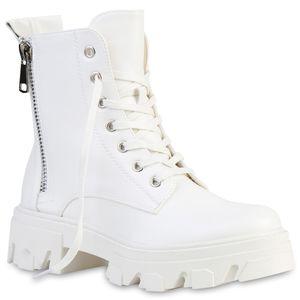 VAN HILL Damen Stiefeletten Plateau Boots Zipper Blockabsatz Schnürer 835653, Farbe: Weiß, Größe: 37