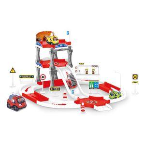 COSMOLINO Feuerwehr Parkgarage und Parkhaus für Kinder mit 4 Spielzeugautos, Parkhaus Kinder ab 3 Jahre, Garage Kinder, Rennbahn Set