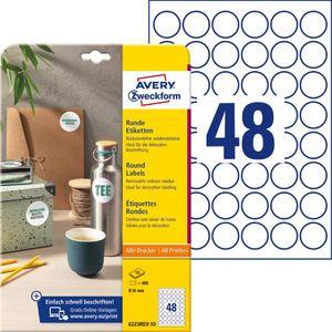 AVERY Zweckform Kennzeichnungs-Etiketten Durchmesser: 30 mm weiß rund 480 Etiketten