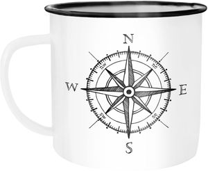 Emaille Tasse Becher Kompass Windrose Abenteurer Campingbecher Kaffeetasse Moonworks® weiß-schwarz unisize