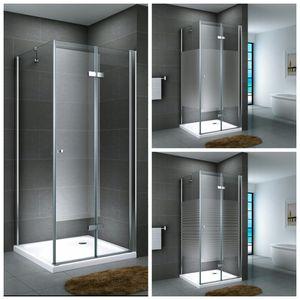 Glasdusche Leine Set 5 cm, Ausführung:Teilsatiniert, Größe:80 x 80 x 190 cm, Duschtasse:ohne Duschtasse und Ablauf