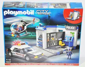 Playmobil 5607 Polizei Set Zentrale Hubschrauber Streifenwagen