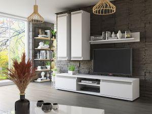 Mirjan24 Wohnwand Check, Praktische Anbauwand, Stilvoll Wohnzimmer-Set, Schrankwand (Weiß / Weiß + Graphit)