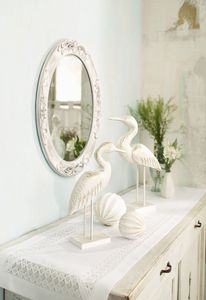 Spiegel 'Nostalgie' ovale Form, verschnörkelter Rahmen in Weiß im Shabby-Stil