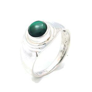 Malachit Ring 925 Silber Sterlingsilber Damenring grün (MRI 132-10),  Ringgröße:62 mm / Ø 19.7 mm