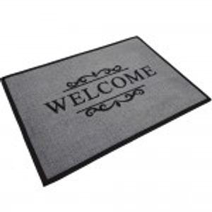 proheim Fußmatte Welcome 40 x 60 cm Schmutzfangmatte Fußabstreifer Fußabtreter aus Baumwolle und Gummi - langlebig und robust - Grau
