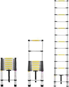 LARS360 Teleskopleiter Ausziehleiter aus hochwertigem Alu Teleskop-Design Mehrzweckleiter, 13 Sprossen - 87cm bis 3,80m Anlegeleiter, 150 kg Belastbarkeit (3,8m)