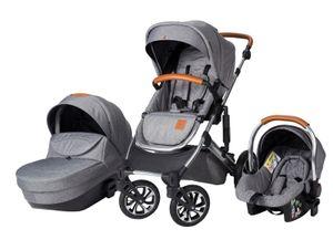 Born Lucky Kinderwagen Set 3 in 1 Kombi Komplett Set Kinderwagen Buggy Sportwagen Rapsodie inklusive Babyschale grau