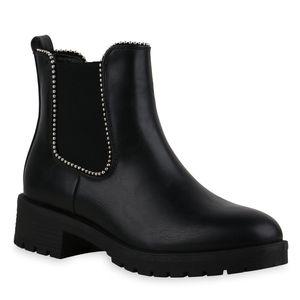 Mytrendshoe Damen Stiefeletten Chelsea Boots Ketten Profilsohle Blockabsatz 835403, Farbe: Schwarz, Größe: 38