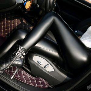 Koreanische Version von schwarzen Kunstleder-Leggings, matten Lederhosen und dünnen Stretch-Leggings für Damen,Größe:XXL