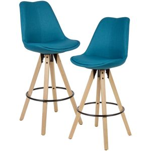 WOHNLING 2er Set Barhocker Petrol Stoff / Massivholz | Design Barstuhl Skandinavisch 2 Stück | Tresenhocker mit Lehne Sitzhöhe 77 cm