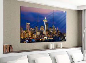 Acrylglasbilder 3 Teilig 120x100cm Skyline Seattle USA Amerika Druck Acrylbild Acrylglas Acrylbilder Wand Bild 14E1575