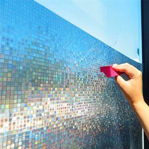 60 * 200 cm Mosaik gefrostete Sichtschutzfolie, Regenbogenfarbe undurchsichtige statische Haftglasfolie, Wärmeübertragungs-Vinyl-Fensterfolie