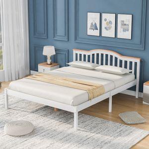 Merax Doppelbett Massivholz Bettgestell 140 x 200cm Bett  Hochwertiger Kieferholz Kinderbett mit Kopfteil und Lattenrost, klassische betten Holzbett für Schlafzimmer (Weiß)