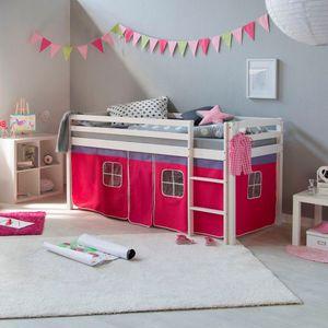 Homestyle4u 538, Kinder Hochbett Mit Leiter, Vorhang Pink, Massivholz Kiefer Weiß, 90x200 cm