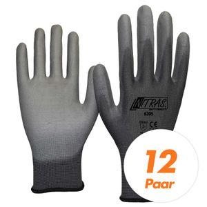Nitras 6205 Nylon Strickhandschuh grau - VPE 12 Paar - mit PolyurethanBeschichtung auf Innenhand und Fingerkuppen Größe:8