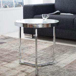 Design Beistelltisch Original ASTRO 45cm chrom weiß Couchtisch Glastisch Wohnzimmertisch Sofatisch