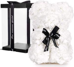 BRUBAKER Rosenbär Blumenbär mit Schleife 25 cm - Blumen Geschenk zum Valentinstag Jahrestag Geburtstag Hochzeit - Geschenkbox inklusive - Weiß