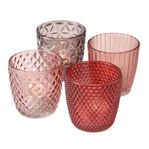 Teelichthalter 4er Set Teelichtgläser Deko Windlicht Marilu rot 4x Glas