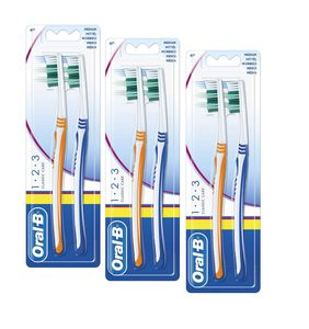 Oral-B 1,2,3 Classic Care Normalkopf Zahnbürste 40 mittel 3er Pack (3 x 2 Stück)
