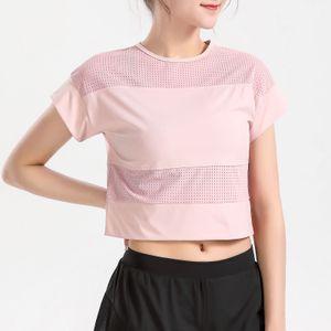 Frauen Mesh Splicing Sport T-Shirt Kurz geschnittene Kurzarm Atmungsaktiv Laufen Yoga Gym Workout Sportswear