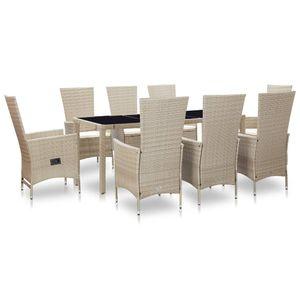 Huicheng Poly Rattan 9-tlg. Garten Essgruppe Sitzgruppe Esstischgruppe mit 8 Rattansessel + Glasplatte Tisch + Auflagen Beige