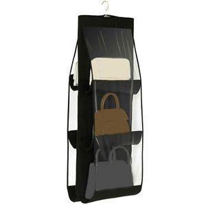 6 Tasche Handtaschen Wandorganizer Hängeaufbewahrung Hängeorganizer für Schränke Kleiderbügel Organizer Schwarz