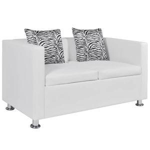 vidaXL 2-Sitzer-Sofa Kunstleder Weiß