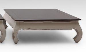 SIT Möbel Opiumtisch 100 x 100 cm | dunkelbraune Tischplatte | Akazie taupe | B 100 x T 100 x H 37 cm | 09783-97 | Serie SPA