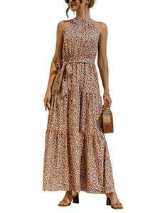 Damen y Neckholder Polka Dot Print Langes Kleid,Farbe: Blau 1,Größe:L