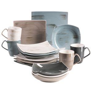 Mäser 931448 Derby Premium Geschirr-Set mit eckigen Tellern für 4 Personen in Gastronomie-Qualität, modernes Kombi-Service in bunten Pastellfarben, Durable Porzellan, bunt, 16-teilig (1 Set)