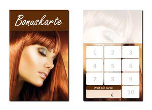 250 Stück Friseur Damen Bonuskarten (BOK-412) mit 10 Stempelfeldern. Treuekarten passend für Bereiche wie Frisör, Kosmetik, Haarpflege