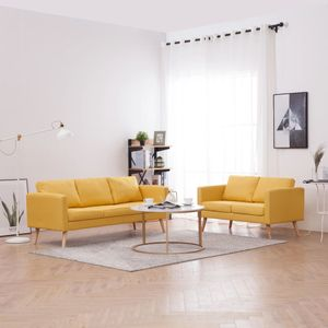 Elegant 2-tlg. Stoff Sofagarnitur, 3-Sitzer und 2-Sitzer Gepolstertes Sofa-Set, mit Kissen und Holzbeine, Schlafzimmer Wohnzimmermöbel, Gelb