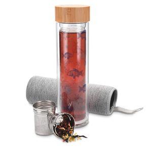 Navaris Teeflasche aus Glas mit Sieb - 500ml Tee Flasche Teekanne to go - Trinkflasche mit Fisch-Design - doppelwandig aus Borosilikatglas mit Hülle