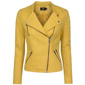 ONLY Damen Kunstlederjacke onlAVA, Farbe:gelb, Größe:40