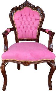 Casa Padrino Barock Esszimmerstuhl mit Armlehnen Rosa / Braun 53 x 57 x H. 108 cm - Handgefertigter Antik Stil Massivholz Stuhl mit edlem Samtstoff - Barock Esszimmer Möbel