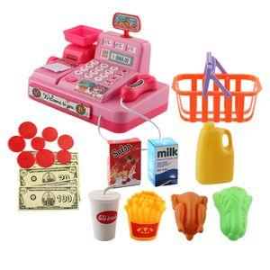 Mini Registrierkasse Spielzeug inkl. Scanner Einkaufskorb Snacks und Geld Rosa Kasse 17,5 x 12 x 13 cm Kinder geben vor, Spielzeug zu spielen