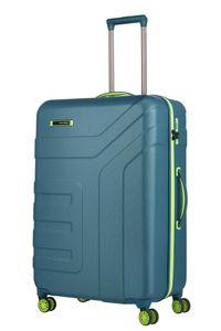 Travelite Vector 4 Rollen ABS Hartschalen Trolley 4 Rad Koffer 77 cm L, Farbe:Petrol/Limone