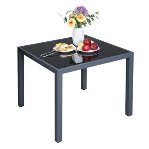 SONGMICS Gartentisch丨Balkontisch丨Glas丨85 x 85 x 73 cm丨Tischplatte aus Hartglas Gestell aus Aluminium丨quadratisch丨grau GPT08GY